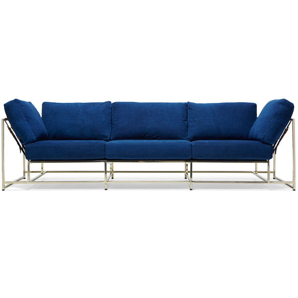 Inheritance Sofa - Indigo Canvas & Brass