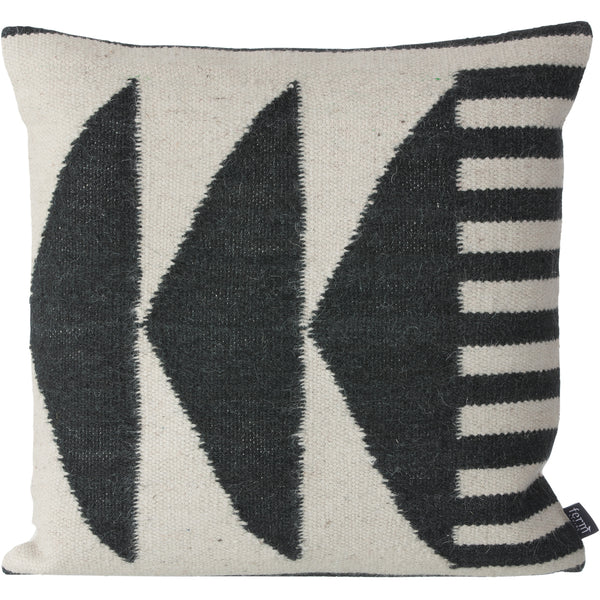 Kelim Black Triangles Pillow - Wool & Cotton
