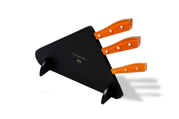 Compendio 3pc Polished Knife Set - Orange Lucite