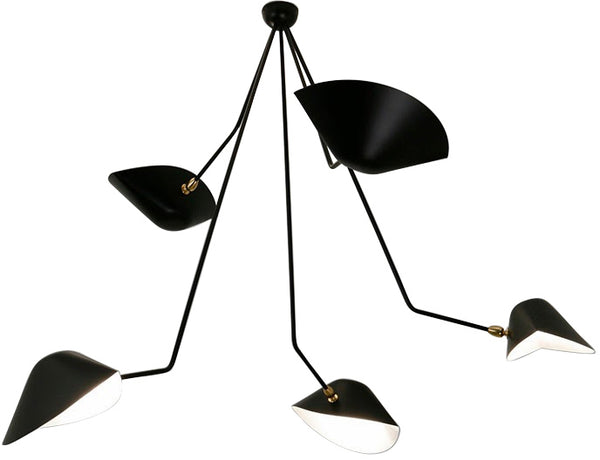 Serge Mouille 5 Still Angled Arm Spider Ceiling Lamp