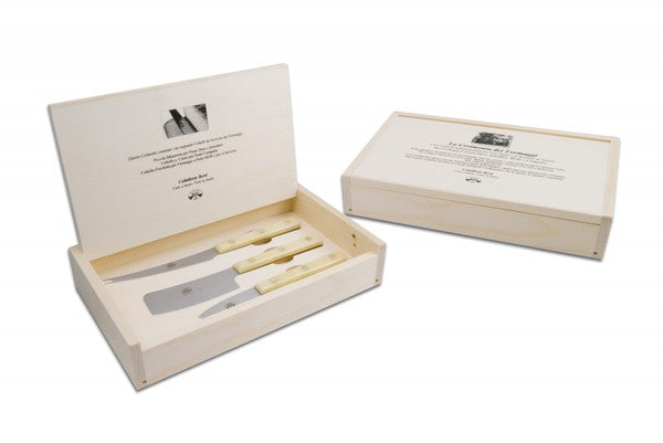 3pc Cheese Knives Boxed Set - White Lucite