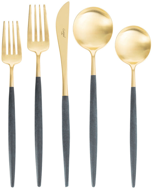 Goa Cutlery Blue Handle - Brushed Gold