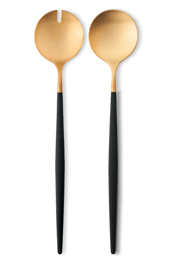 Goa Salad Servers - Brushed Gold/Black Handle
