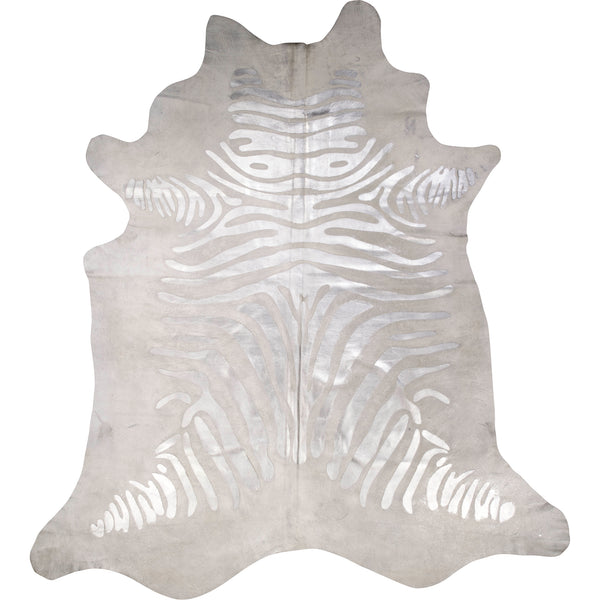 Devore Hide - Silver Metallic On White Rustic Zebra