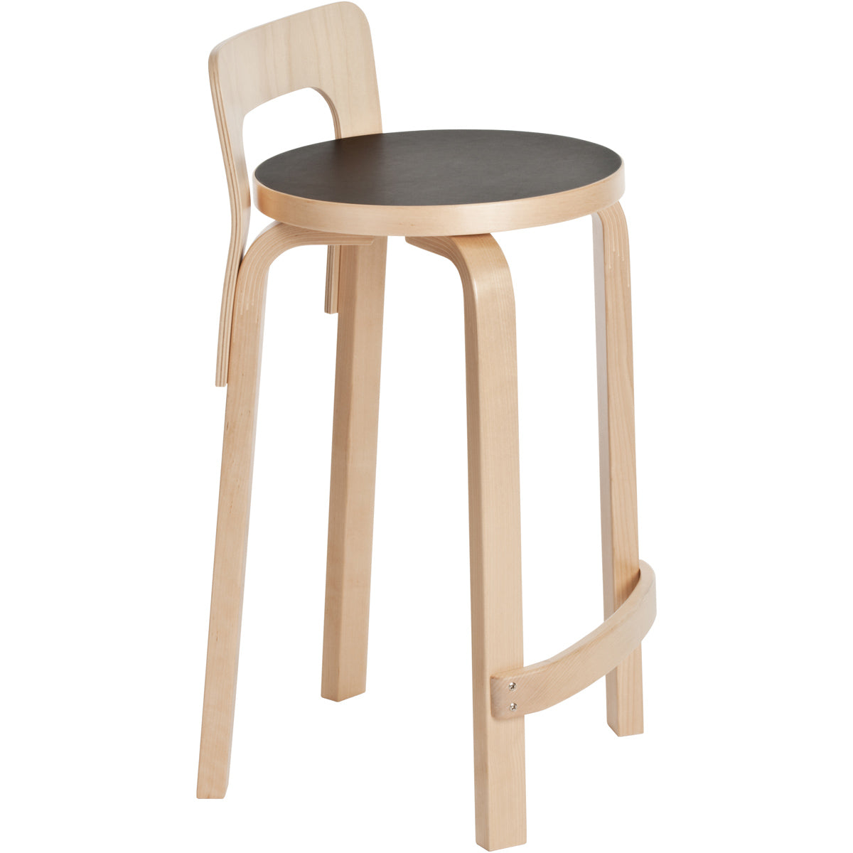 Artek High Chair K65 Black Linoleum Seat