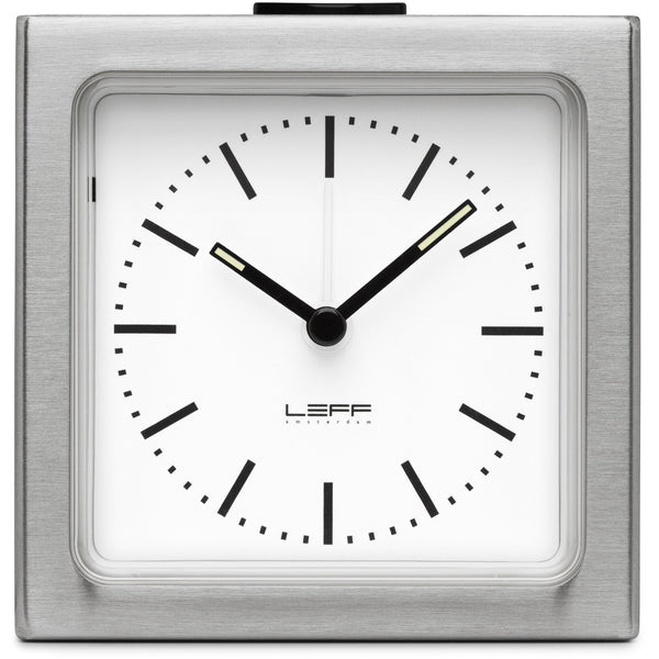 Block Steel Clock - White Index