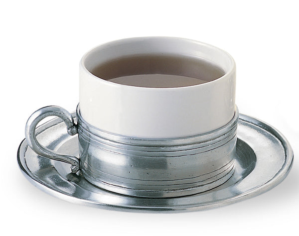 Cappuccino Cup & Pewter Saucer - Set of 2