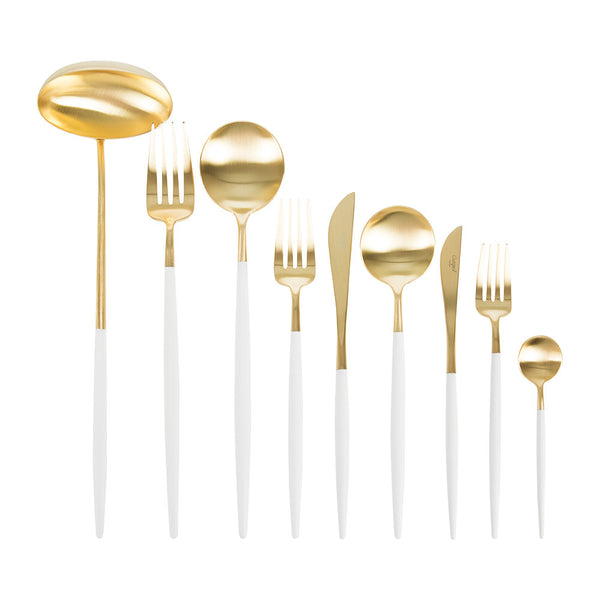 Goa Cutlery - Brushed Gold and White Handle - Box Sets