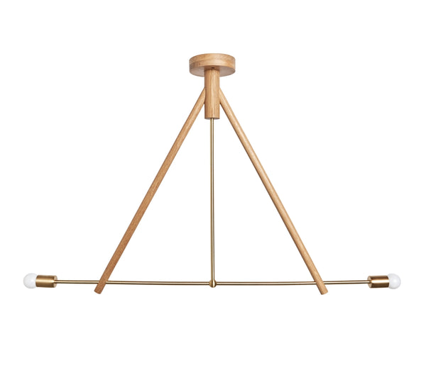 Lodge Chandelier Two - Natural Wood Finish
