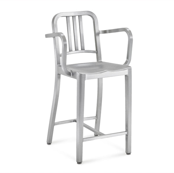 Emeco- 1006 Navy Counter Stool With Arms