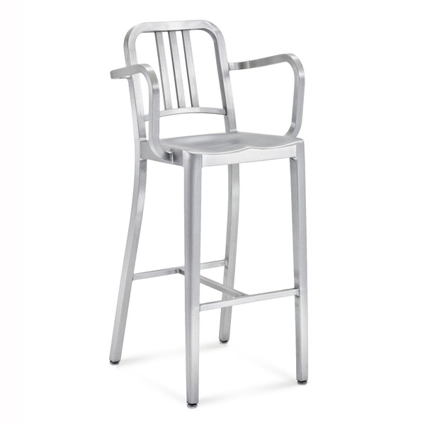 Emeco- 1006 Navy Barstool With Arms