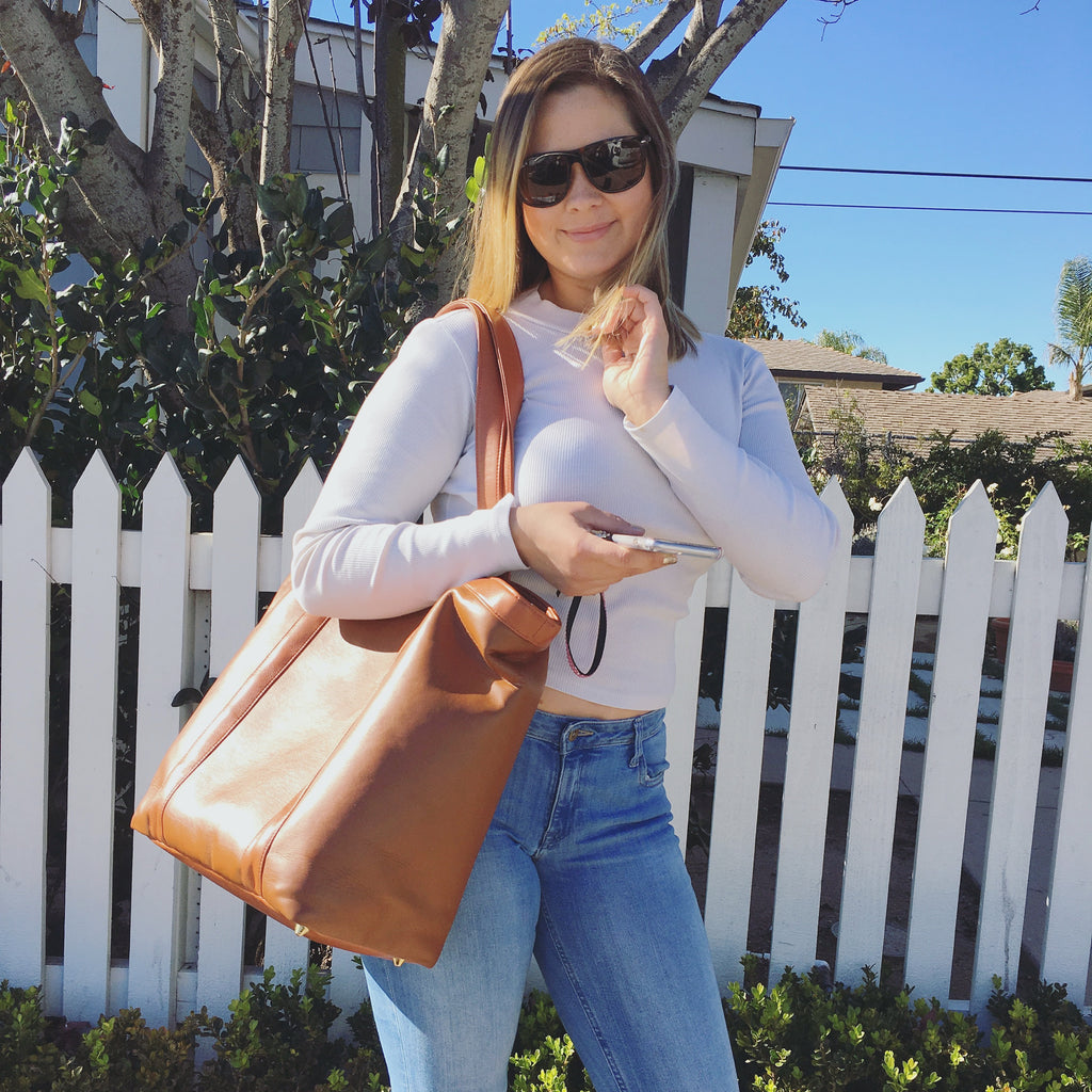 Natalie sporting the Whiskey tote
