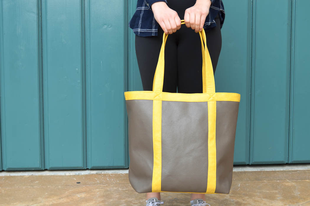 Vegan leather shiitake tote featuring a waterproof inside