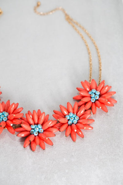 Coral and Turquoise Colored Beaded Flower Statement Necklace