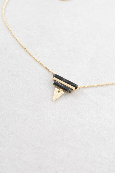 Gold Triangle & Bar Pendant Necklace with Marbling Stone