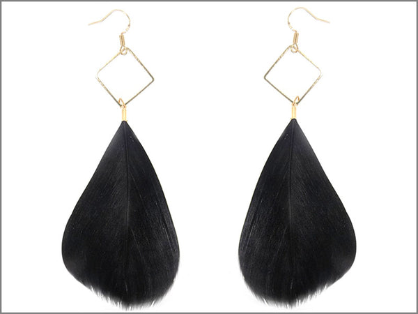 Drop Triangle Feather Earrings