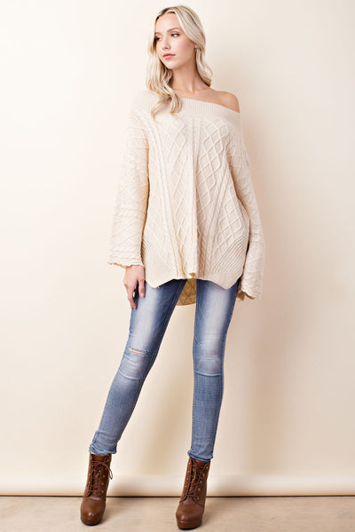 Boat Neck Oversize Knit Sweater