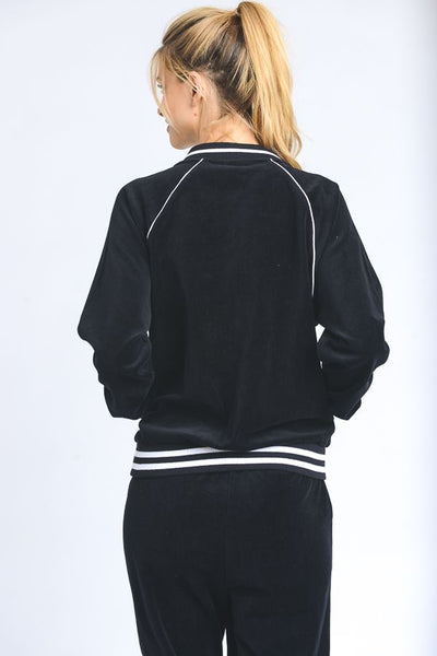 Striped Velour Bomber Jacket