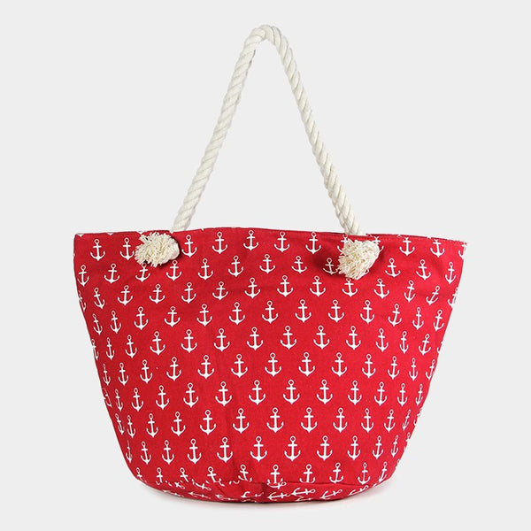 Anchor Print Canvas Bach Tote with Rope Handle
