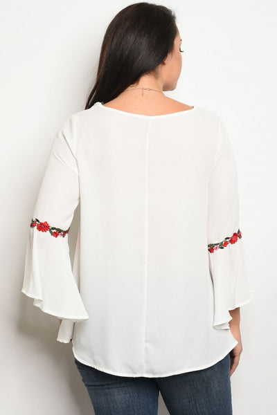 PLUS Bell Sleeve Embroidered Detail Top