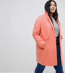 Peach Shawl Collar Coat