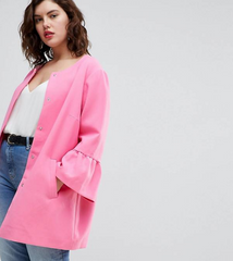 Trumpet Sleeve Pink Plus Size Coat