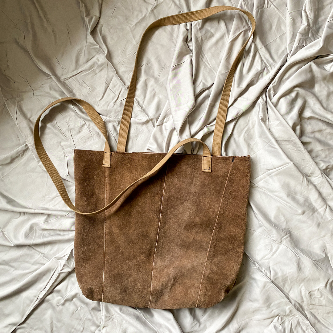 Brown Jumbo Recycled Leather Tote Bag