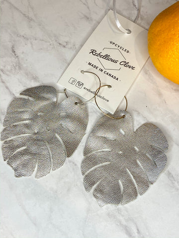 Silver Faux Leather Monstera Leaf Recycled Hoop Earrings