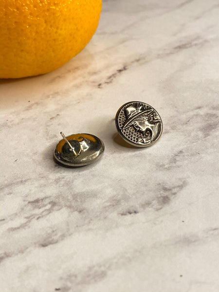 Silver Ladies Vintage Button Stud Earrings