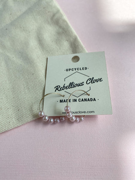 Lilac Pearl Beaded Hoops