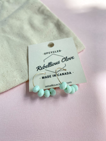 Mint Chip Beaded Hoops