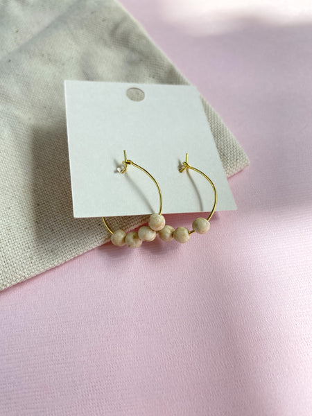 Neutral Stone Beaded Hoops