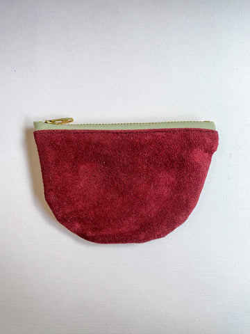Maroon Small Half Moon Zippered Pouch