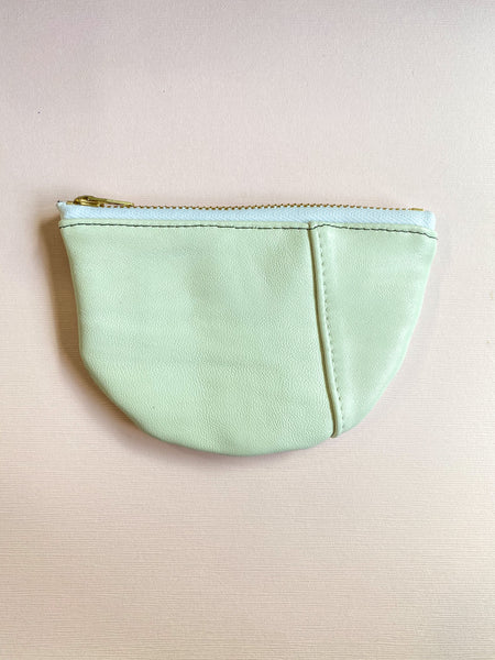 Creamy Small Half Moon Zippered Pouch
