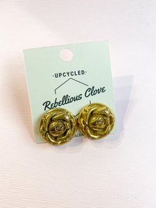 Brass Rose Bud Vintage Button Stud Earrings