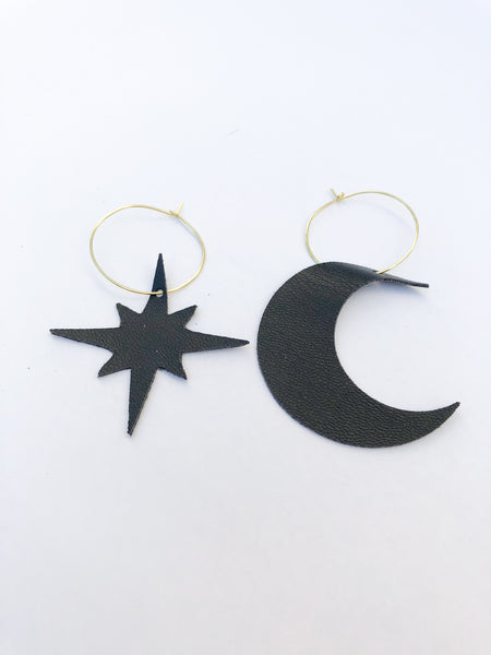 Moon and Star Asymmetrical Hoops in Black VEGAN Leather