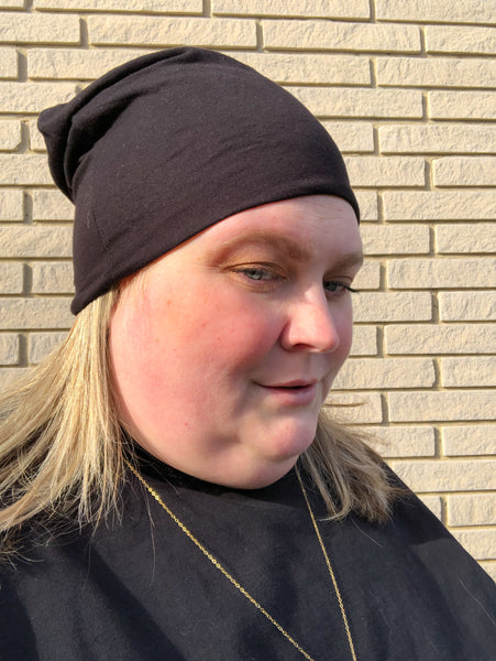 Super Soft Black Slouchy Beanie