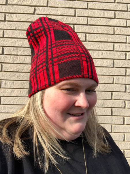 Red and Black Plaid Winter Beanie