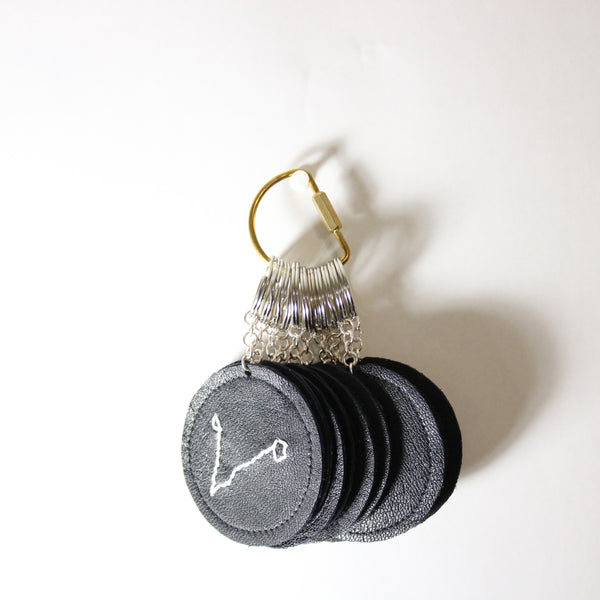 Cancer Zodiac Embroidered Recycled Leather Keychain