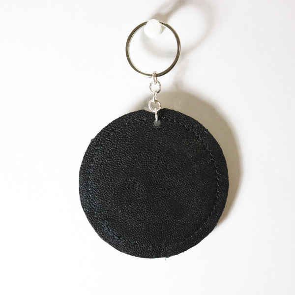 Leo Zodiac Embroidered Recycled Leather Keychain