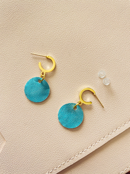 Aqua and Gold Mini Hoop Studs