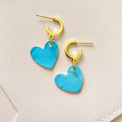 Aqua Heart Mini Hoop Studs