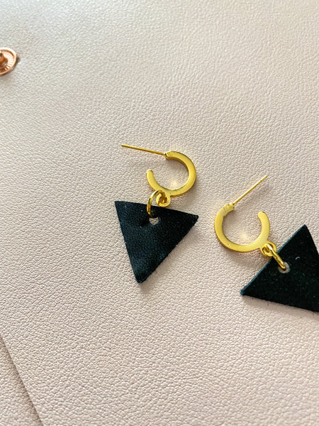 Black and Gold Mini Hoop Studs