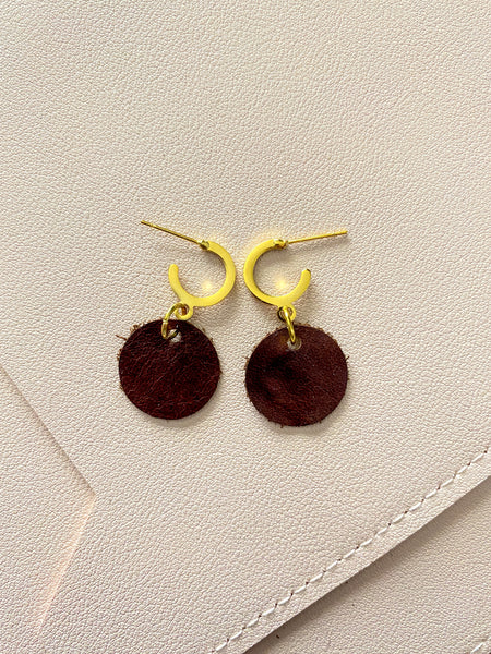 Dark Russet and Gold Mini Hoop Studs