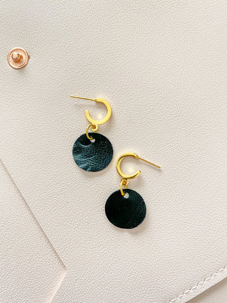 Black Circle Mini Hoop Studs