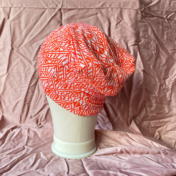 Orange and White Geo Unisex Beanie