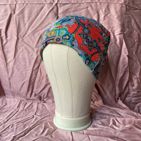 Orange and Turquoise Paisley Unisex Beanie