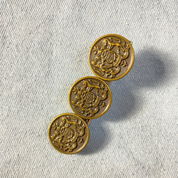Brass Shield Vintage Button Barrette