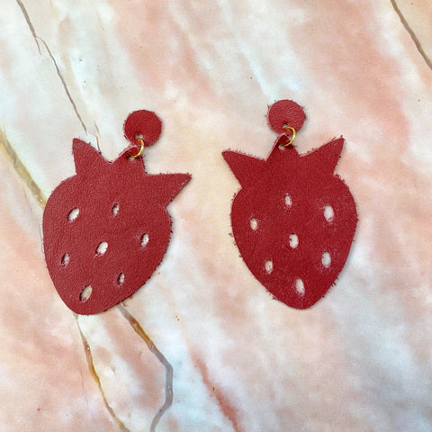 Burgundy Strawberry Earrings