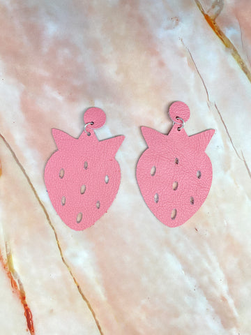 Pink Strawberry Earrings